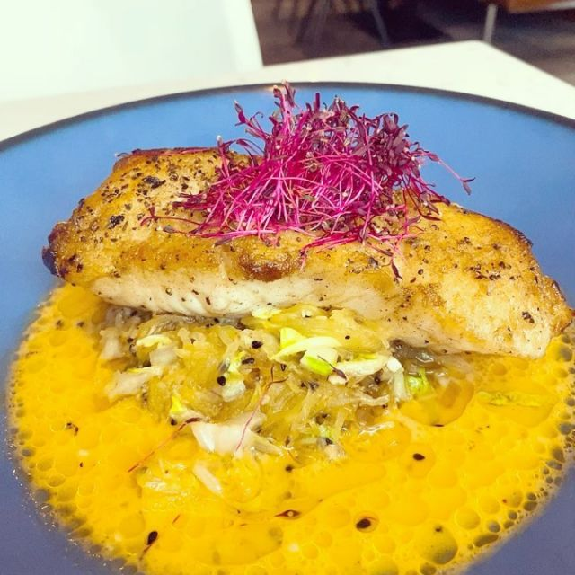 New month, new featured menu item! This Alaskan Halibut dish with coconut chili broth, spaghetti squash, Napa cabbage, red pepper strips and basil oil is available starting today throughout the month of October.   Don't miss out on this featured dish. Reserve your table now (link in bio).  #newonthemenu #october #halibut #charlottenc #clteats #eatdrinkclt #charlotterestaurants #chefdavidburke #redsaltbydavidburke #queencity